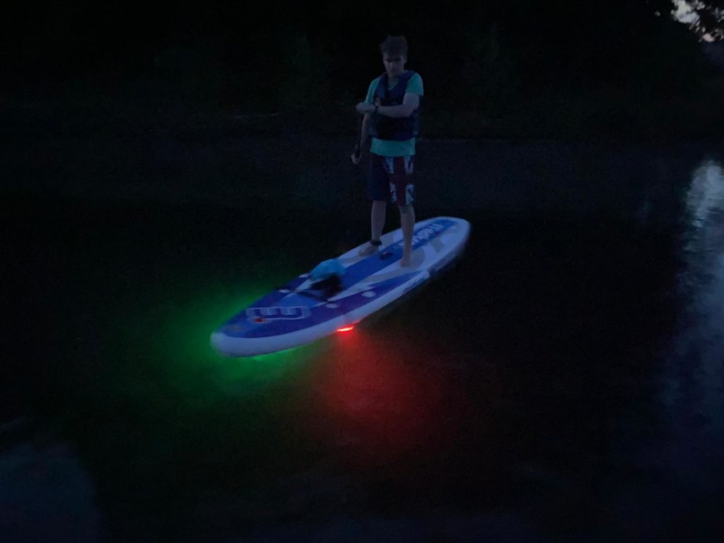LED-Tour, SUP-Tour mit safeand.fun, Stand up Paddling, Stehpaddeln bei Nacht, Steinberger See